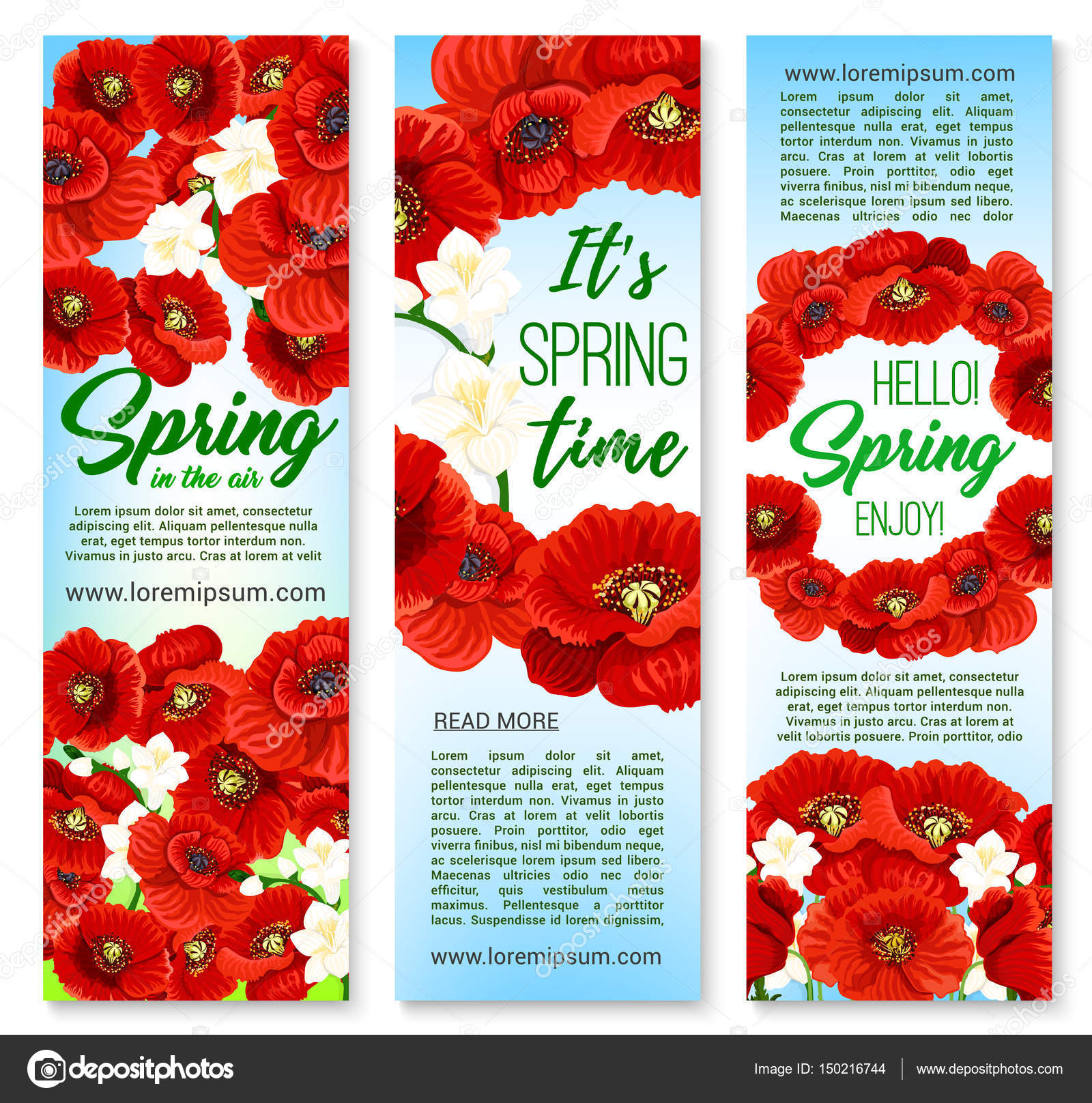 Vector Banners For Happy Spring Holiday Greetings Stock Vector