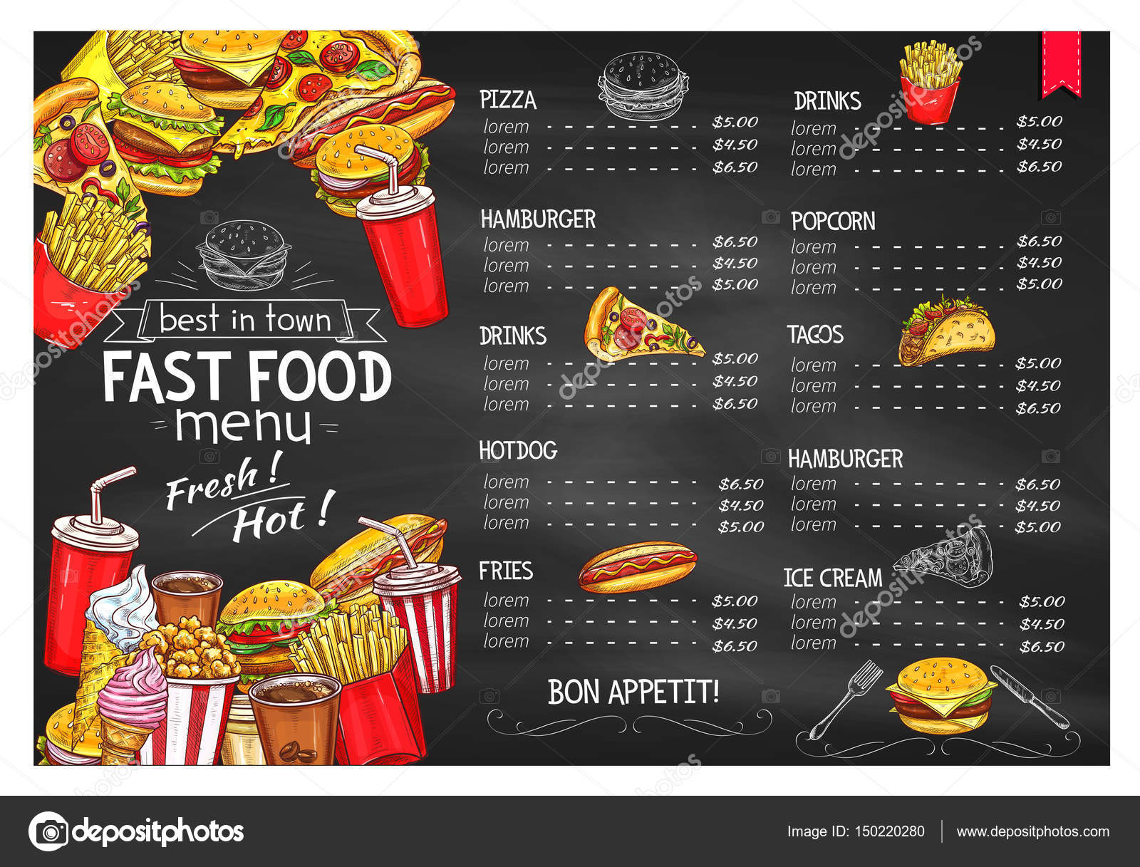 Vector price menu template for fast food meals — Stock Vector ...
