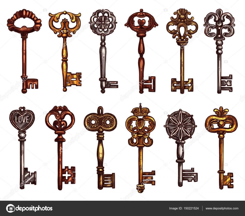 Iconos vector aislado del bosquejo de llaves vintage - Llaves antiguas de puertas ...