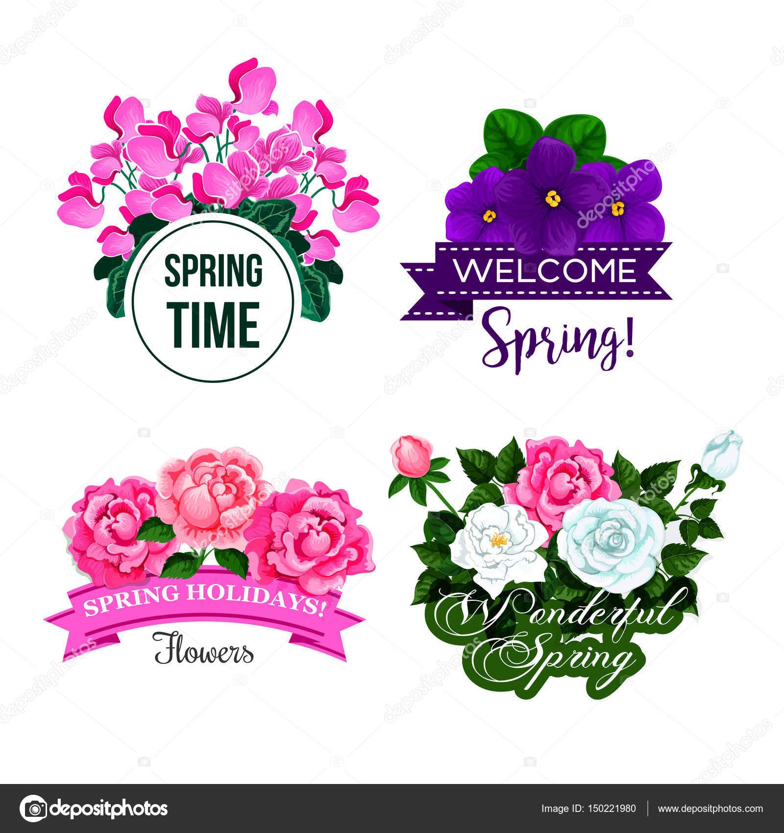 Vektor Frühling Gruß Zitate-Blumen-design — Stockvektor © Seamartini ...