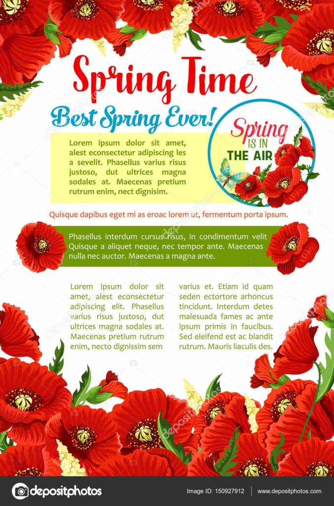 Spring season flower greeting poster template stock vector spring season flower greeting poster template red flowers of poppy with green leaf and bud floral frame with text layout in center for springtime holidays mightylinksfo Gallery
