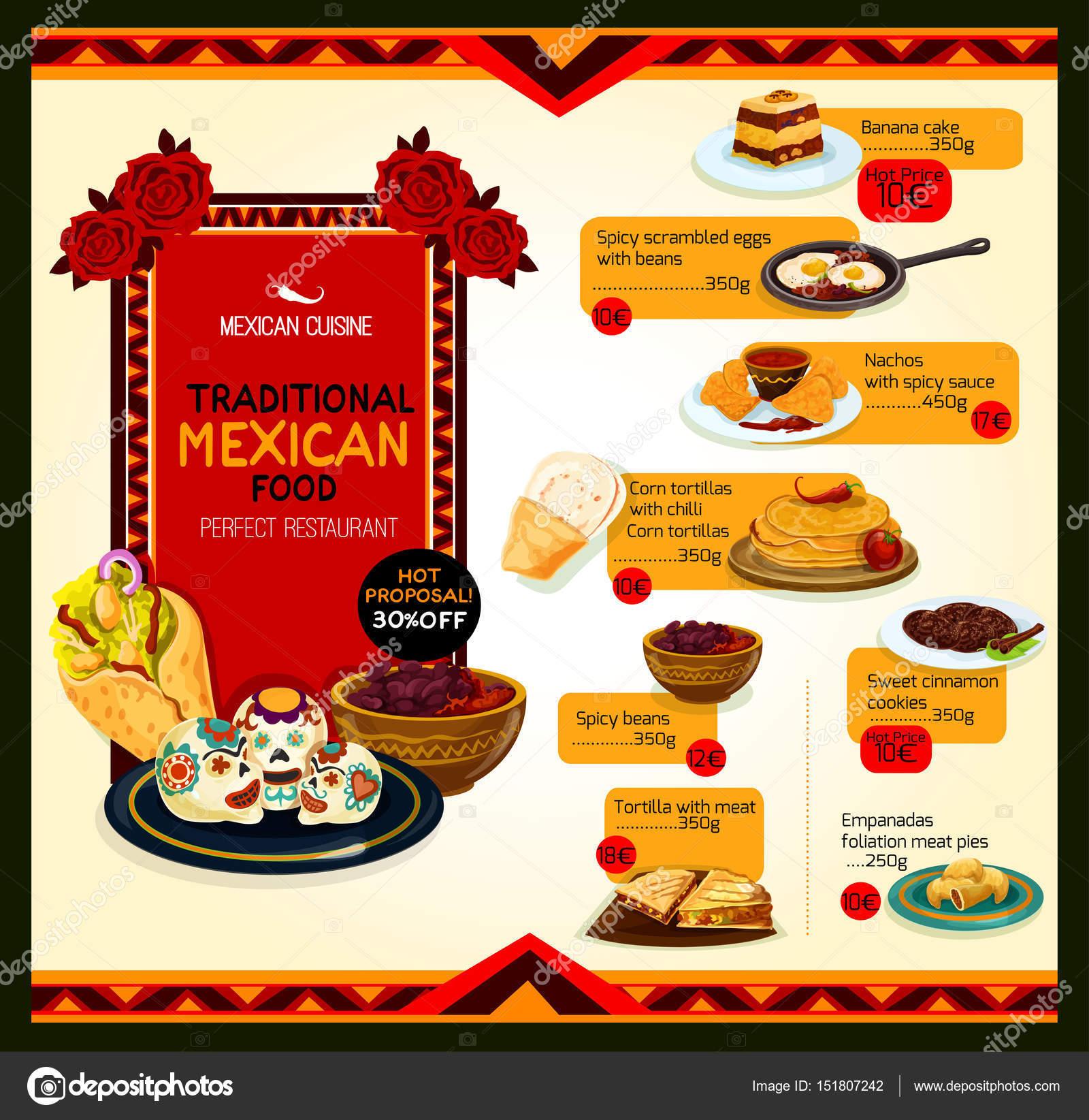 Plantilla de cartel de oferta de menú de cocina mexicana — Archivo ...