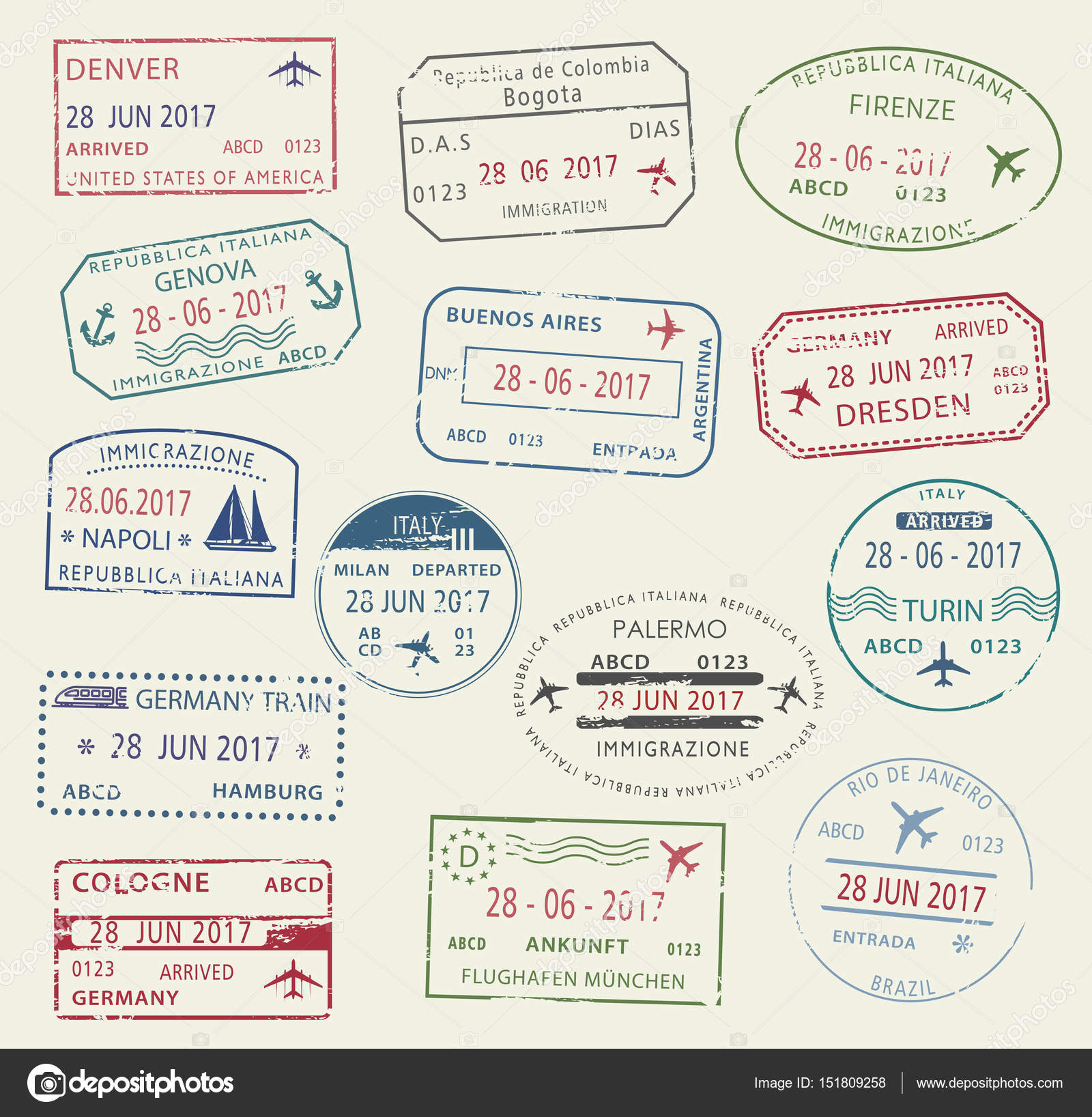 Visa Passport Stamp Symbol Set For Travel Design Stock Vector