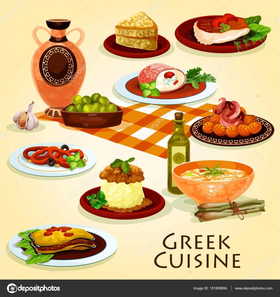 Griechische Küche traditionelle Abendessen Cartoon Ikone ...