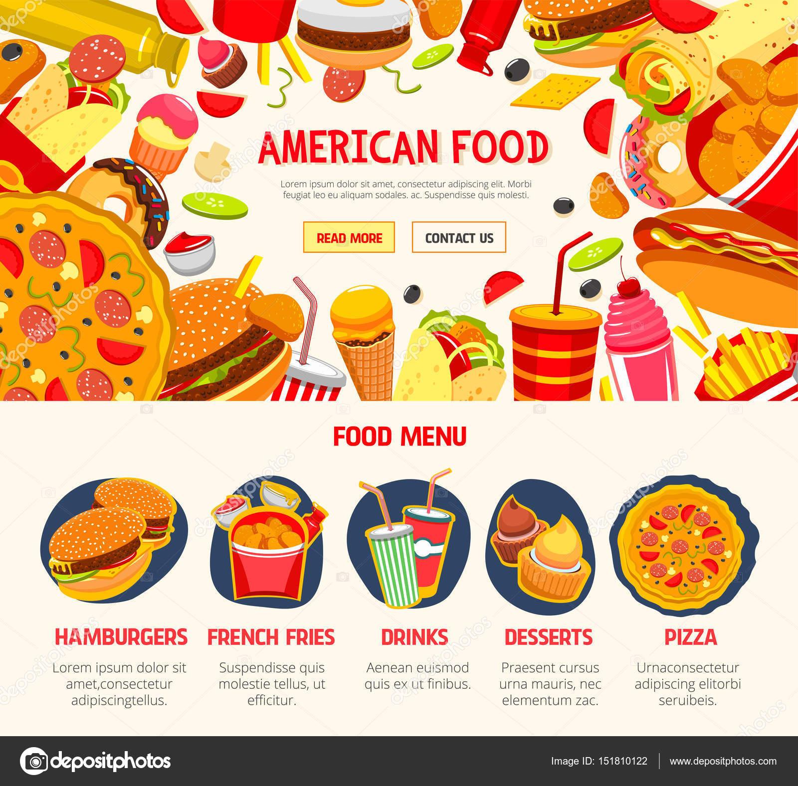 Fast-Food Restaurant Menüvorlage banner — Stockvektor © Seamartini ...