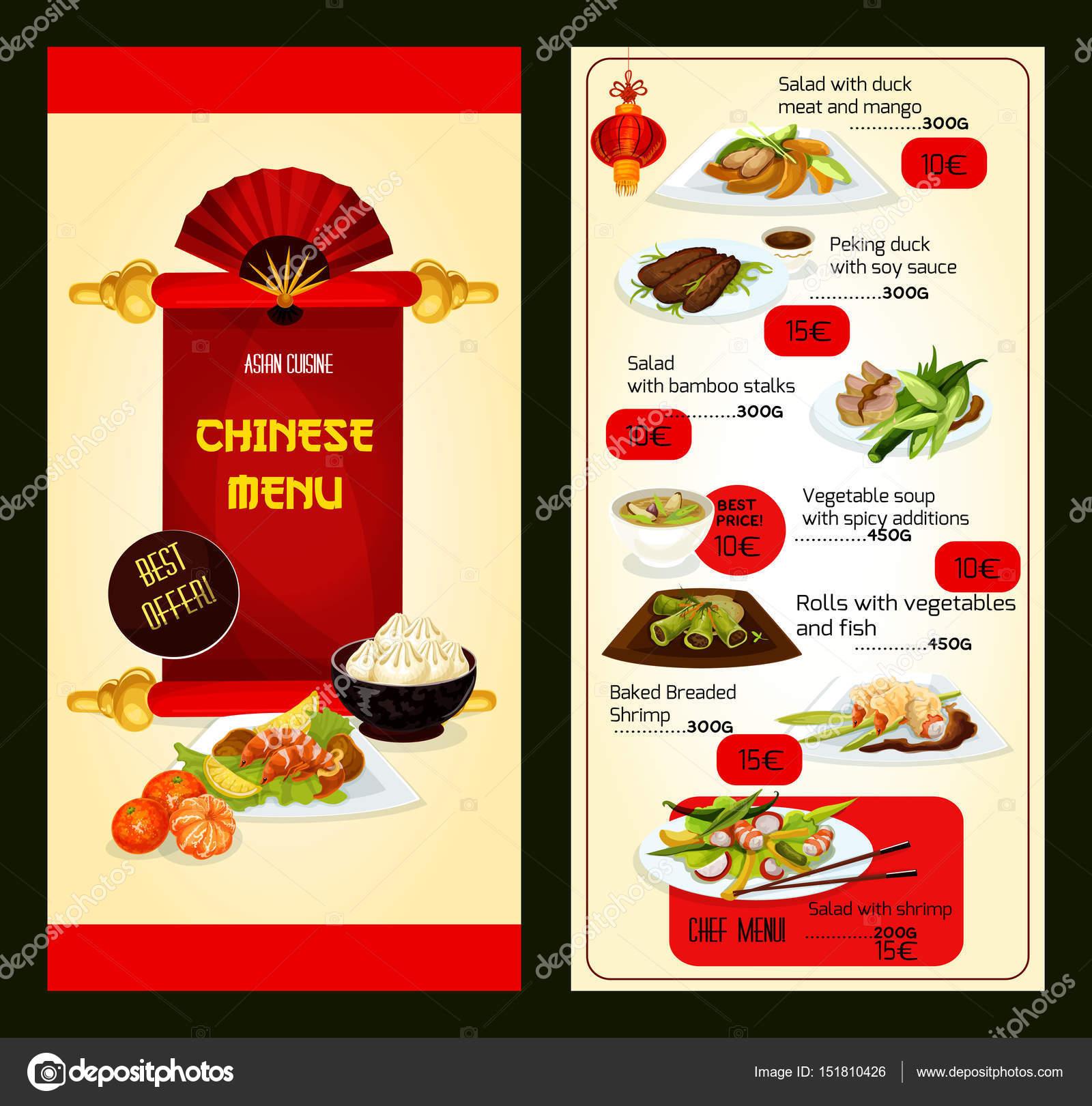 Chinesische Speisekarte mit Gerichten der asiatischen Küche ...
