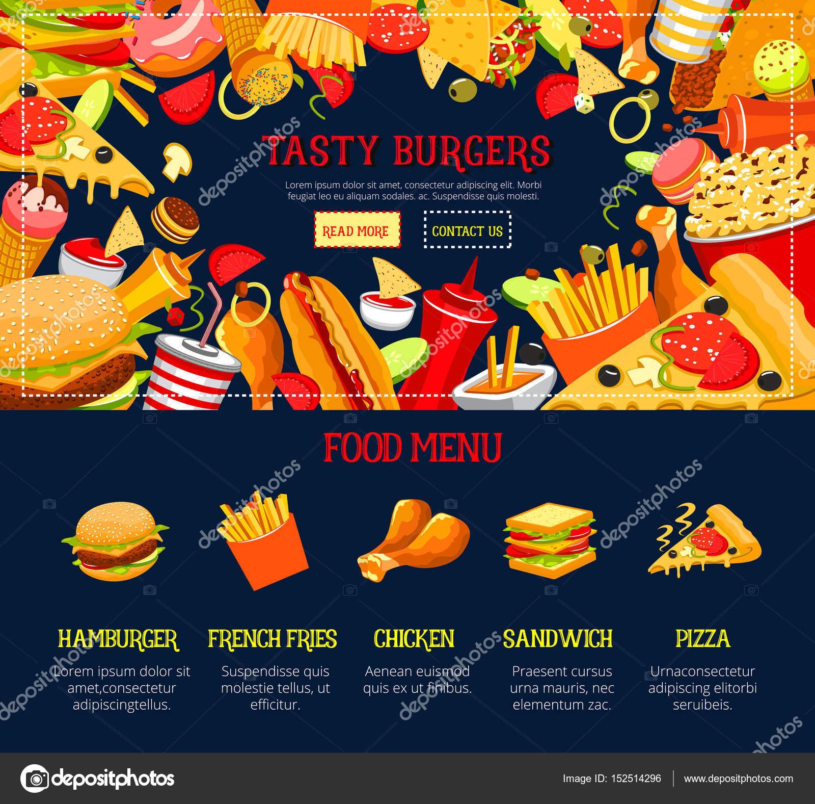 Sitio de web de vector aterrizaje página plantilla comida rápida ...