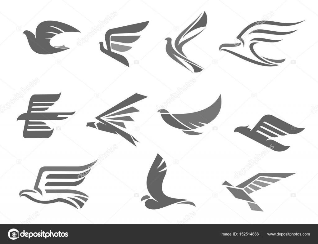 Wektor Ikony Latające Ptaki I Skrzydła Grafika Wektorowa