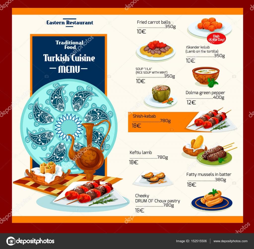 Vektor-Menüvorlage türkische Küche Restaurant — Stockvektor ...