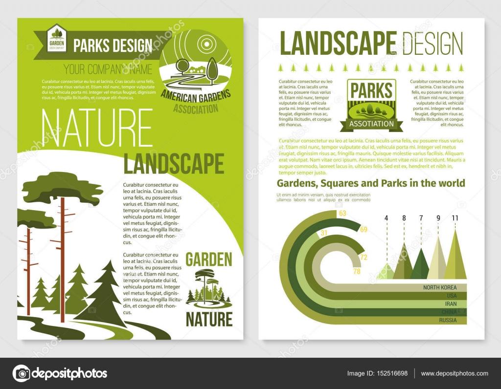 Folleto de vectores para diseño del paisaje de la naturaleza ...