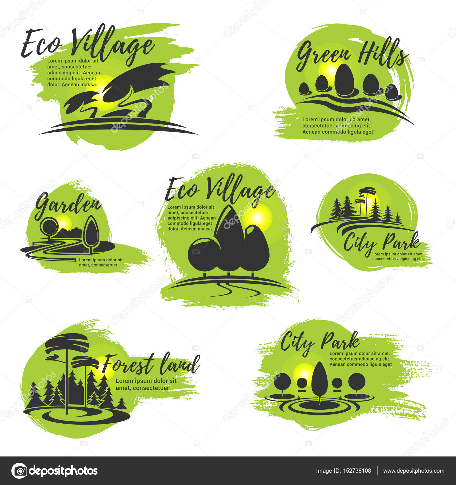 Vector Icons For Eco Park And Gardening Company U2014 Stock Vector