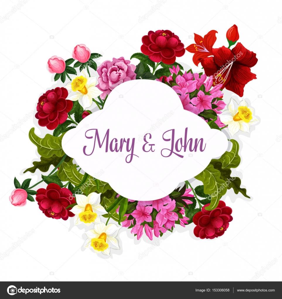 Flowers bouquet vector design for wedding card — Stock Vector