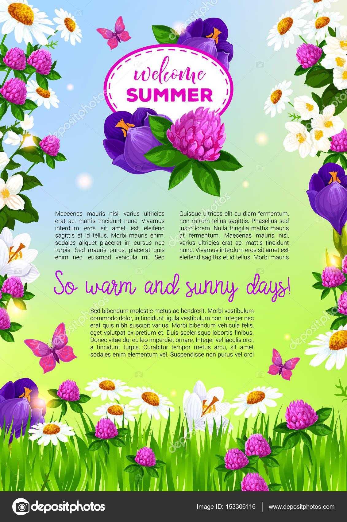 Flores vector poster para saludos de bienvenida verano — Vector de ...