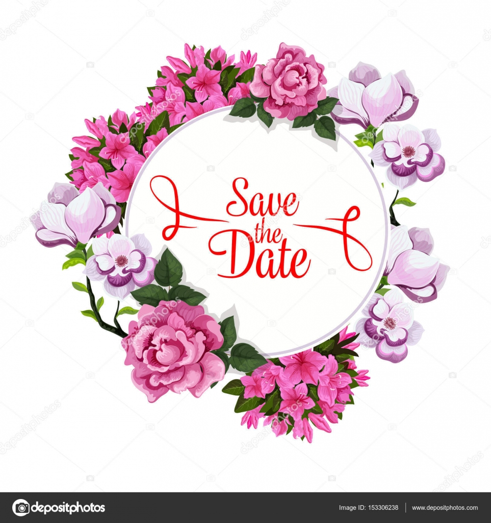 save date wedding greeting vector floral template stock vector