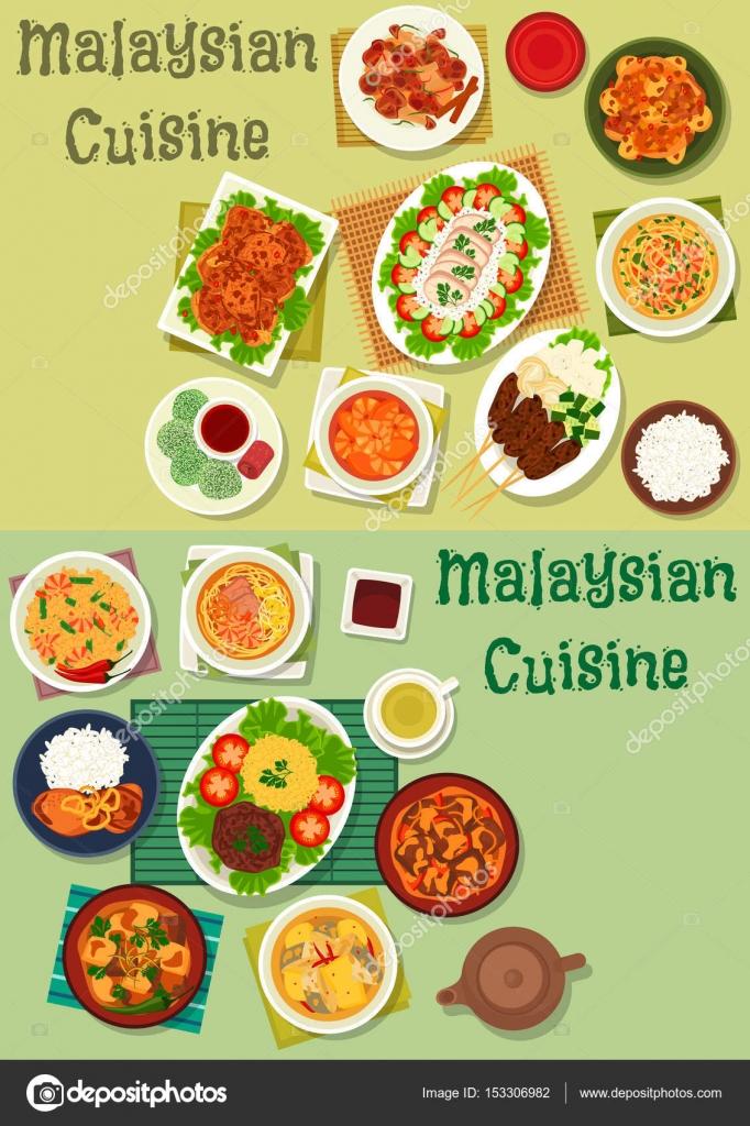 Malaysische Küche Symbolsatz für gesunde Ernährung-design ...