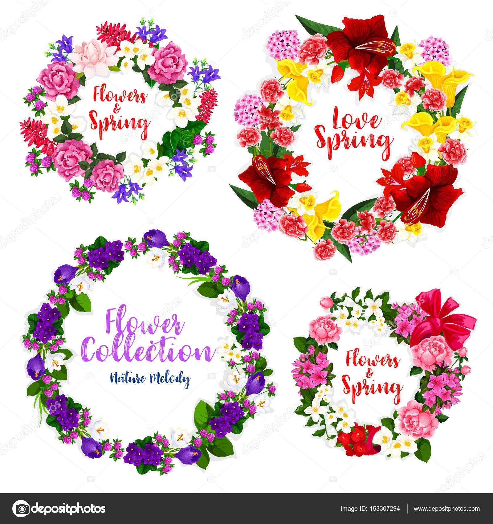Spring Flower Wreath And Floral Frame Border Stock Vector 153307294
