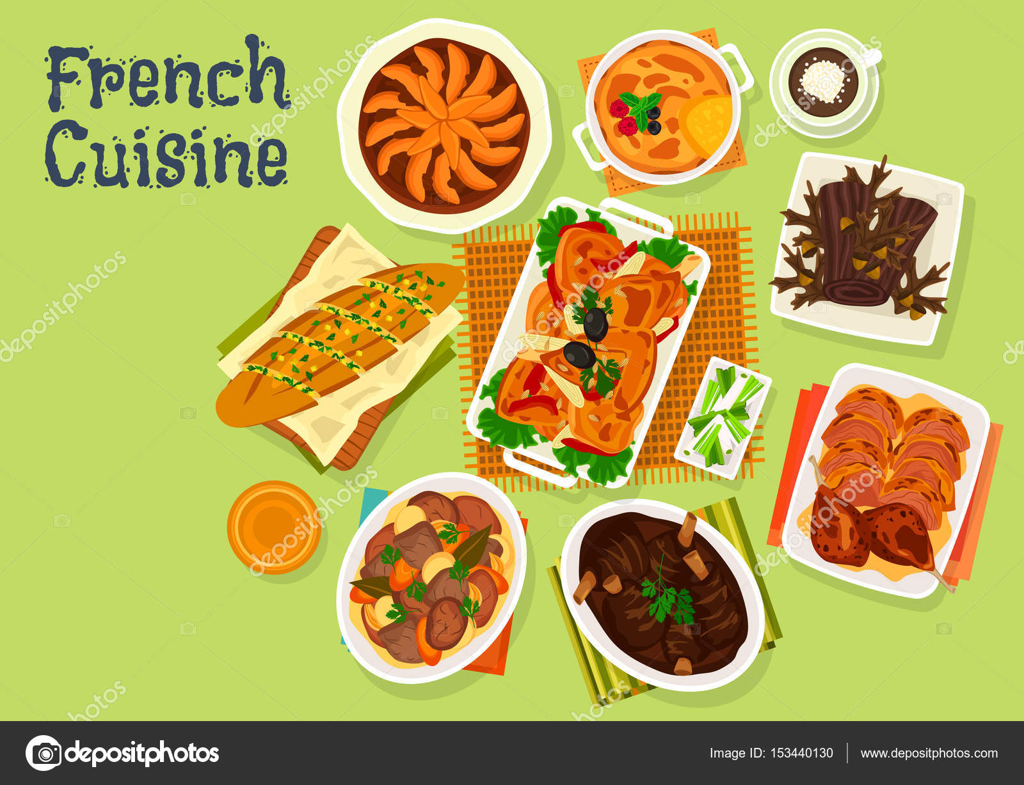 Französische Küche festliches Dinner Menü Icon-design — Stockvektor ...