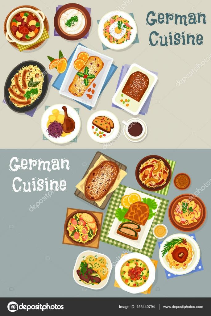 Icono de la cena festiva de cocina alemana set diseño — Archivo ...