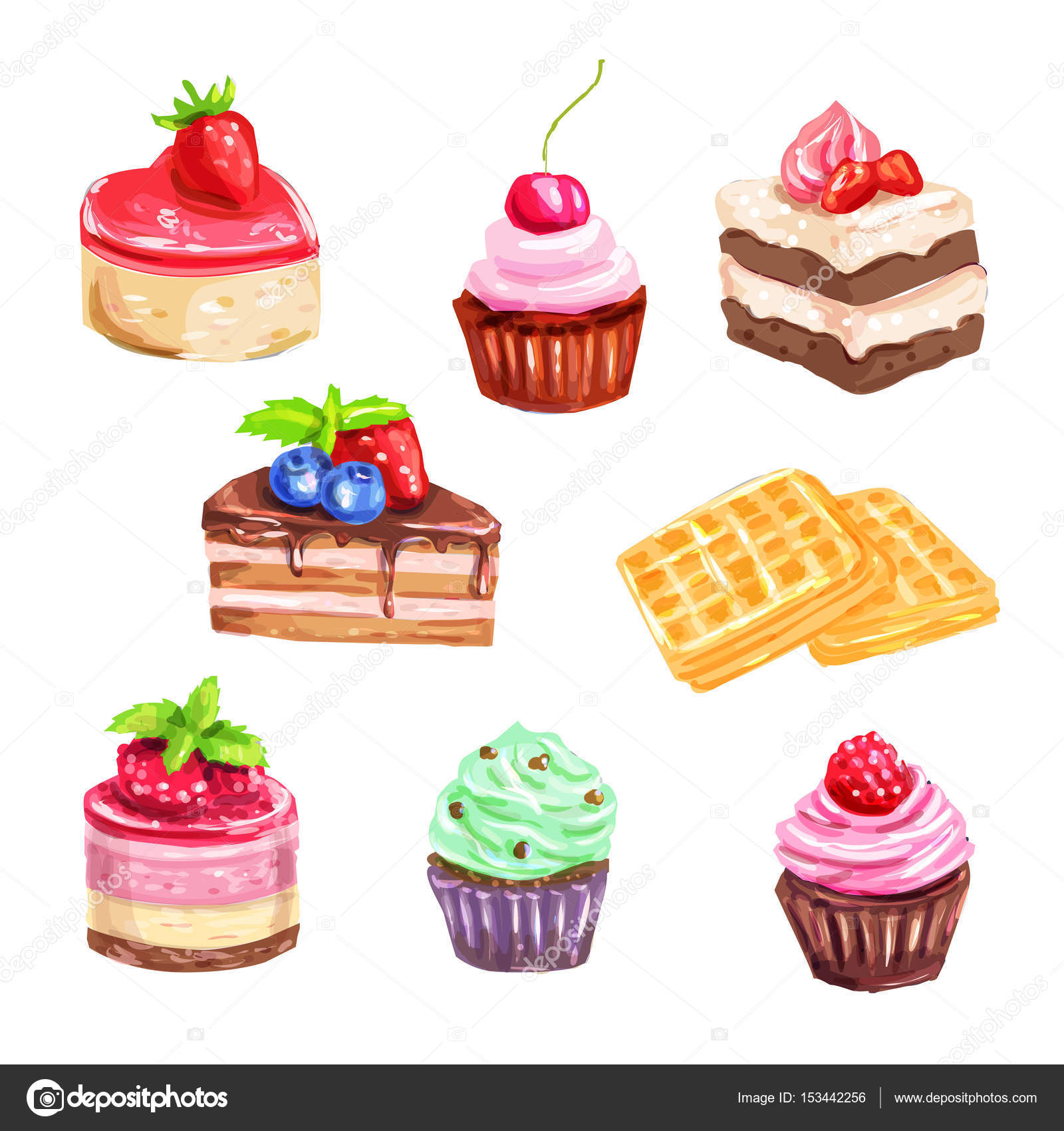 Cake And Pastry Set Of Watercolor Dessert Stock Vector