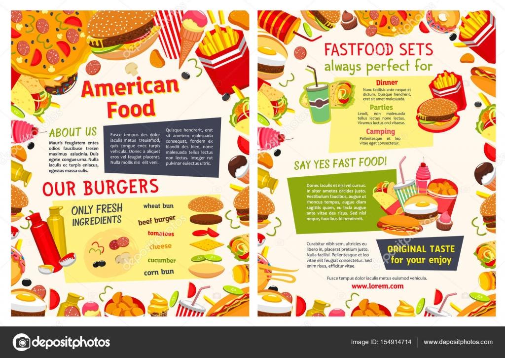 Plantilla de menú para llevar de restaurante de comida rápida ...
