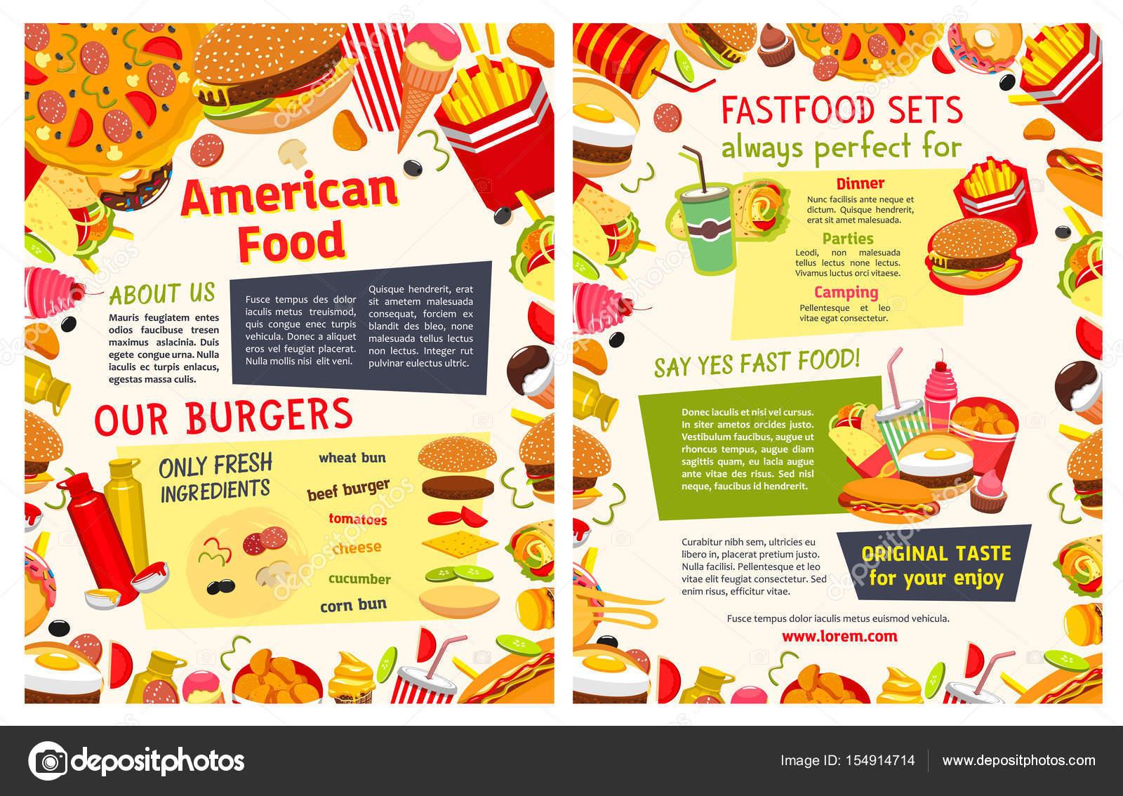 Fast-Food Restaurant Imbiss Menüvorlage — Stockvektor © Seamartini ...
