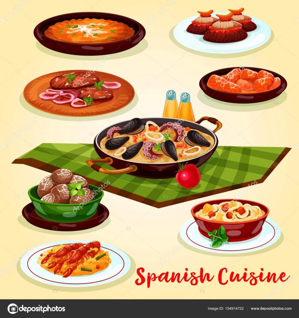 spanish cuisine dinner menu cartoon poster design — stock vector