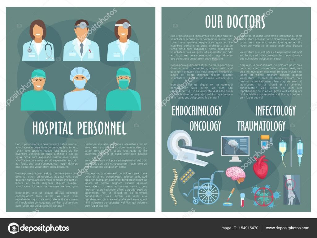 Medizinische Krankenhauspersonal, Arzt-Poster-design — Stockvektor ...