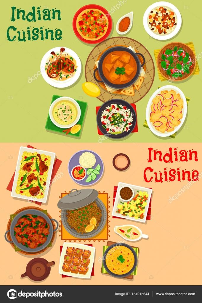 Indische Küche Abendessen Speisen Menü Icon set-design — Stockvektor ...