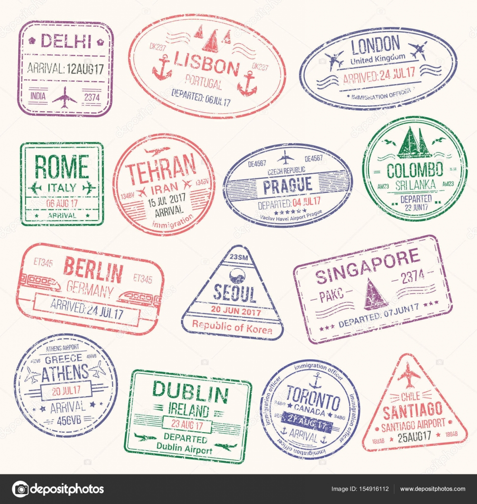 Passport Stamp Travel Visa Sign Icon Set Stock Vector