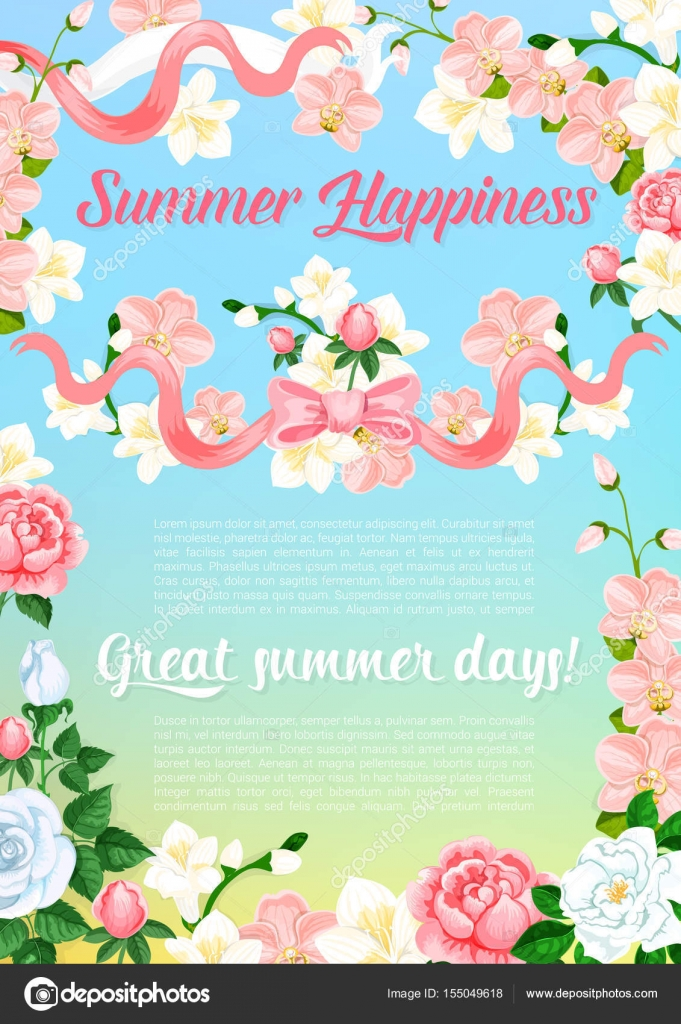 Summer flowers bouquet greeting vector poster — Stock Vector ...