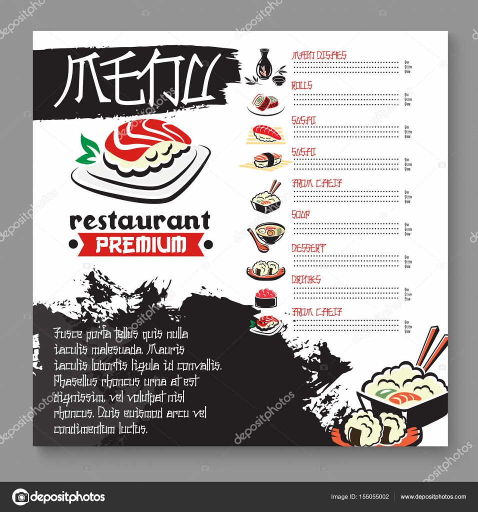 Vektor-Menü für japanische Sushi-Food-restaurant — Stockvektor ...