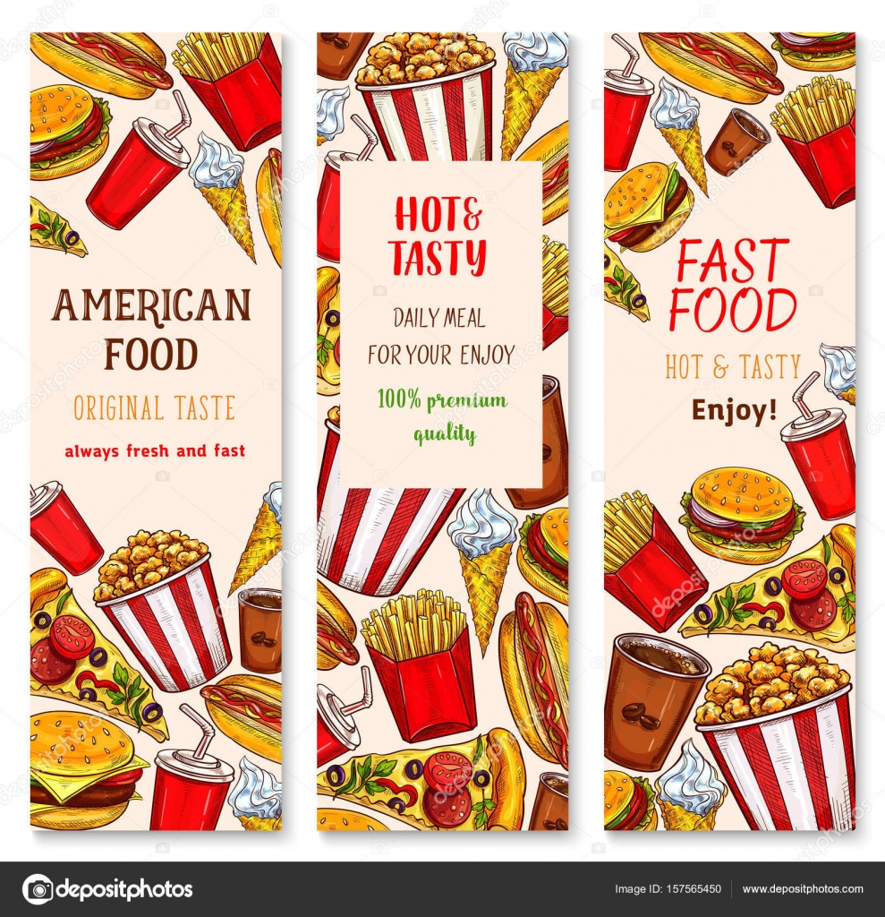 fast food restaurant vector banners set — stock vector