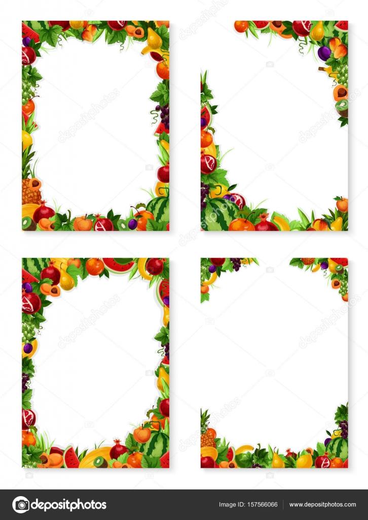 Conjunto de marcos de vector de frutas exóticas — Archivo Imágenes ...