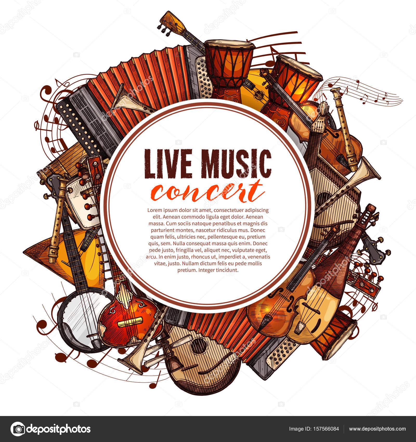 Live Music Concert Poster Of Musical Instruments Vector Design Folk Accordion Ethnic Jembe Drums Jazz Saxophone And Fiddle Violin Banjo Guitar