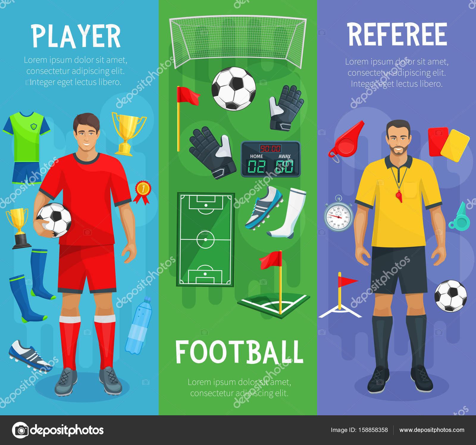 9cd37aeae Banners de jogo de esporte do futebol ou futebol com jogador e árbitro e  jogando itens de futebolista botas ou tênis