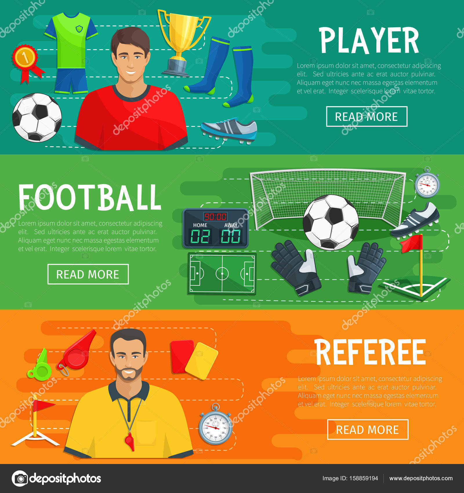 afedae190 Banners de futebol para o jogo de esporte do futebol. Vector design da  bandeira de jogador ou árbitro de futebol e apito