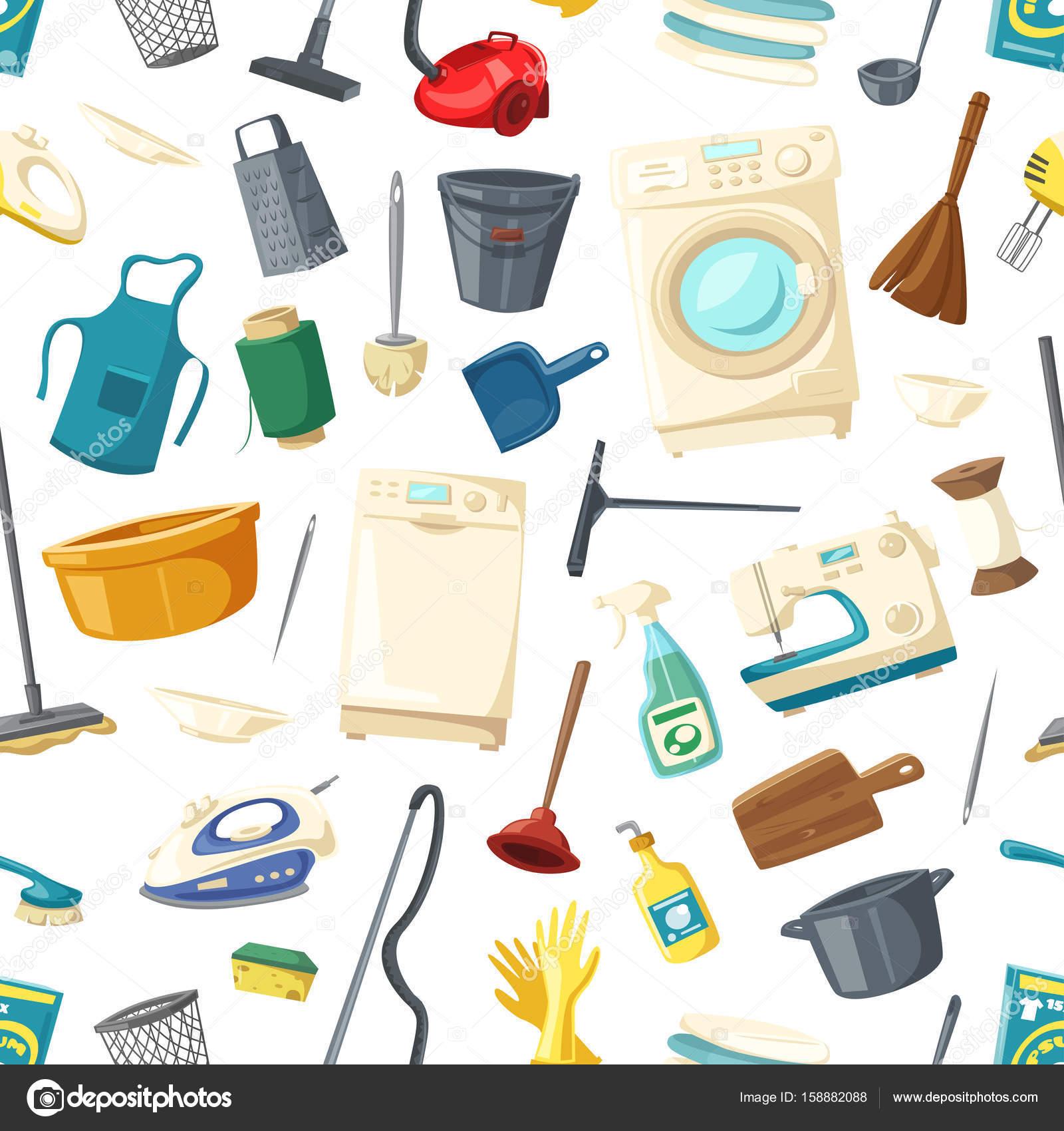 Patrón transparente de vector de hogar artículos de limpieza ...