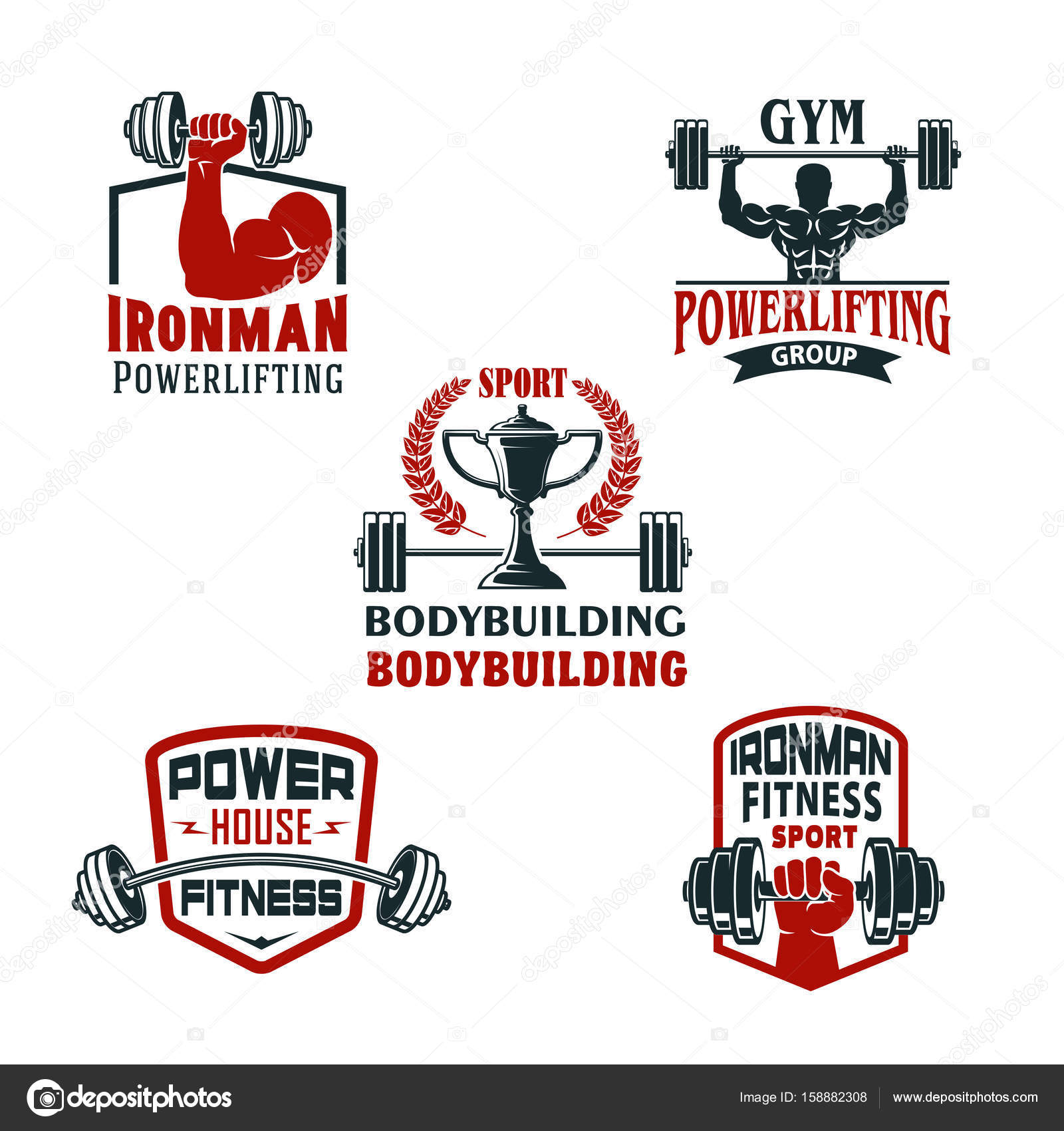 Vector Icons Bodybuilding Fitness Studio Oder Powerlifting