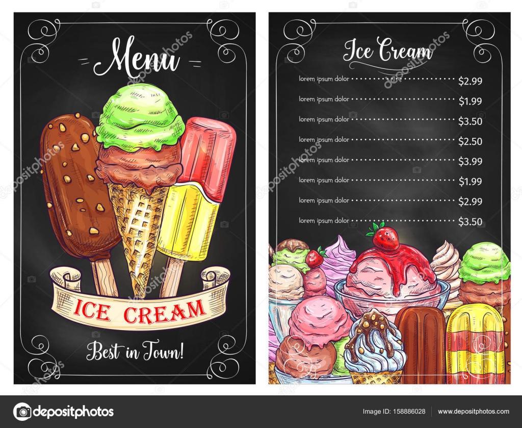 Menú del vector para helados postres café — Archivo Imágenes ...