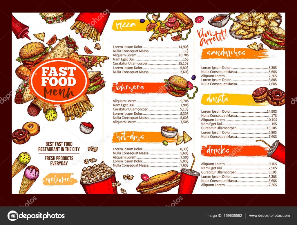 Fast Food Restaurant Menu Brochure Template Design Stock Vector - Foldable menu template