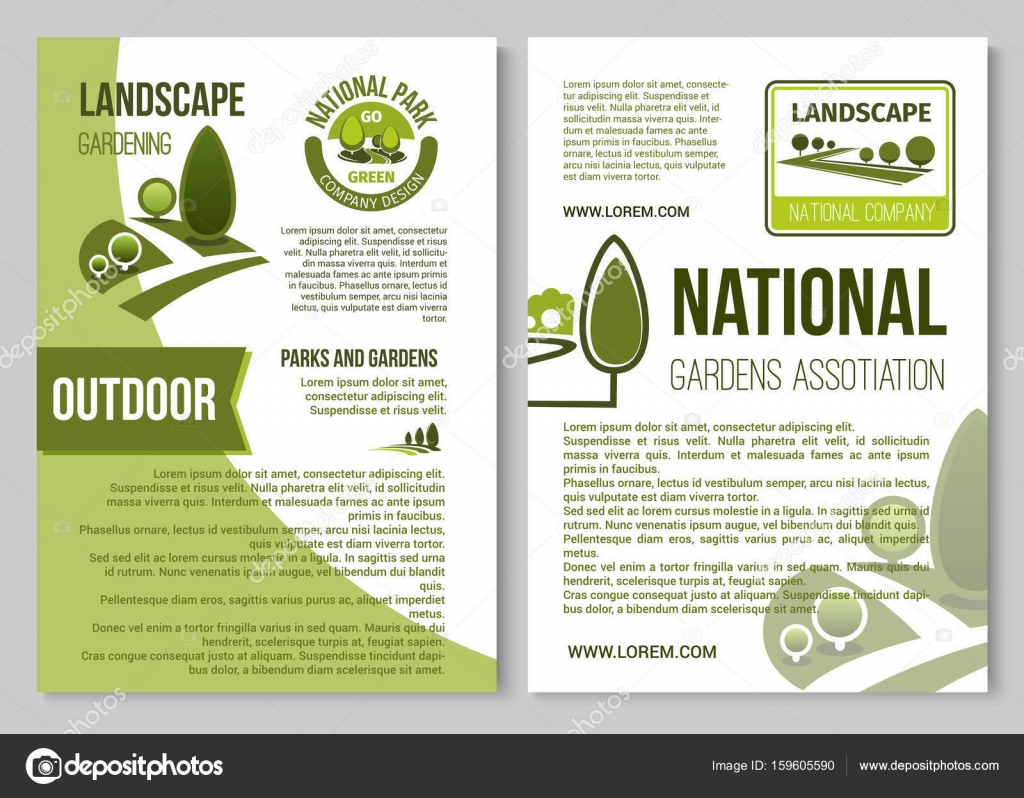 landscape design and gardening poster template stock vector