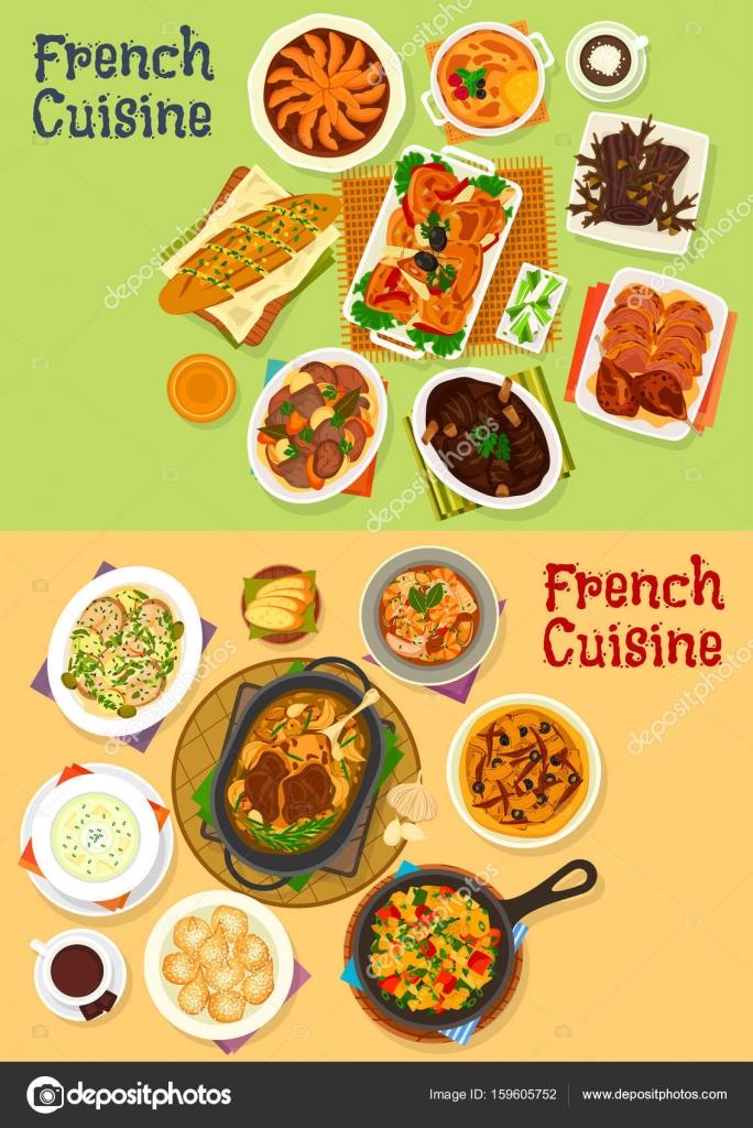 Französische Küche Abendessen Symbolsatz für Menü-design ...