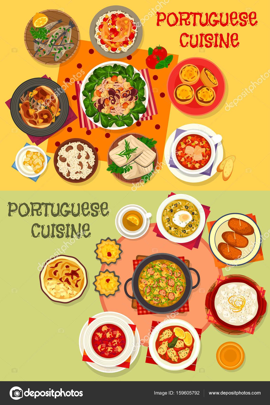 Portugiesische Küche Meeresfrüchte-Abendessen-Menü-Icon set ...