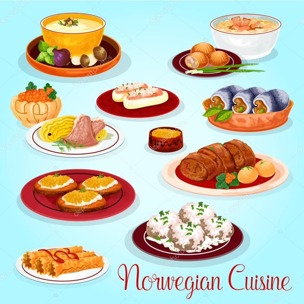 Plats De La Cuisine Norvégienne Pour Licône Du Menu Déjeuner - Cuisine norvegienne