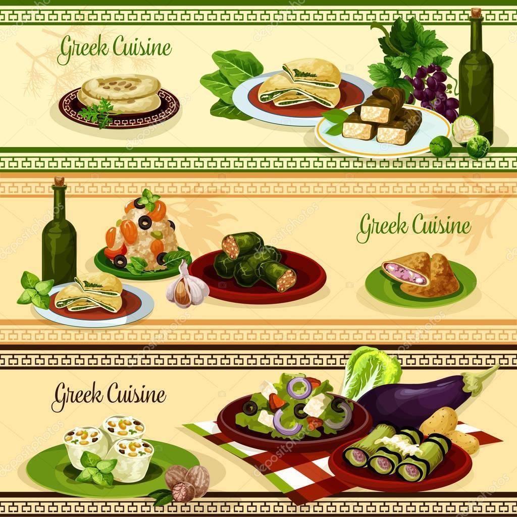 Griechische Küche Restaurant Banner für Food-design — Stockvektor ...