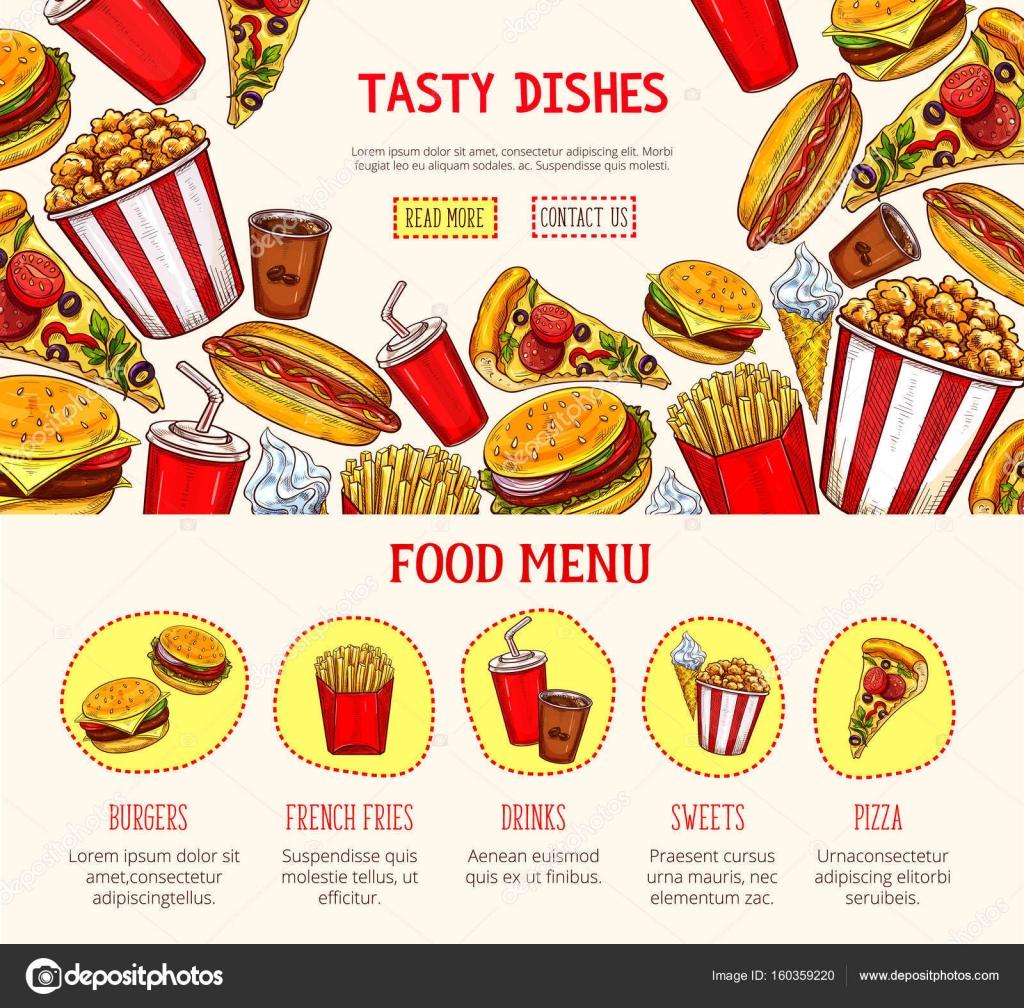 Plantilla de página web de vector para restaurantes de comida rápida ...