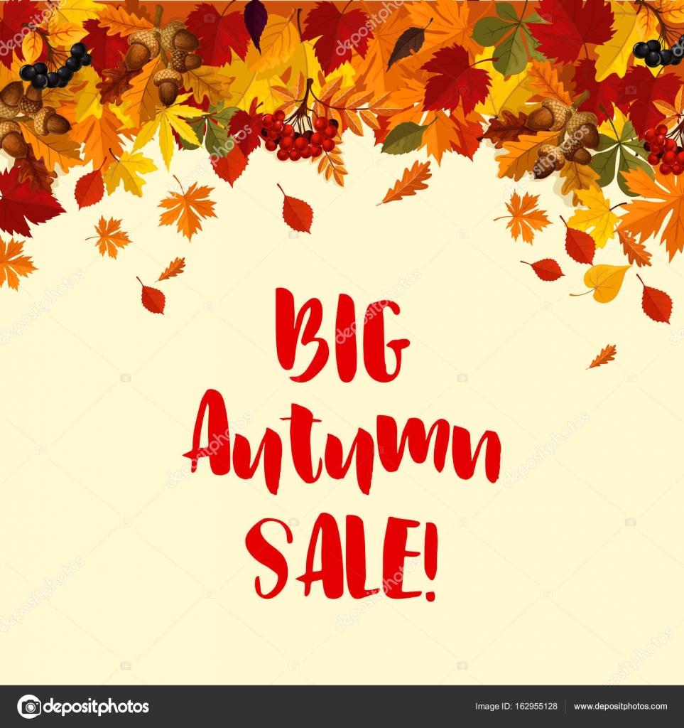 Herbst Herbstlaub Vektor Verkauf Plakat Vorlage — Stockvektor ...