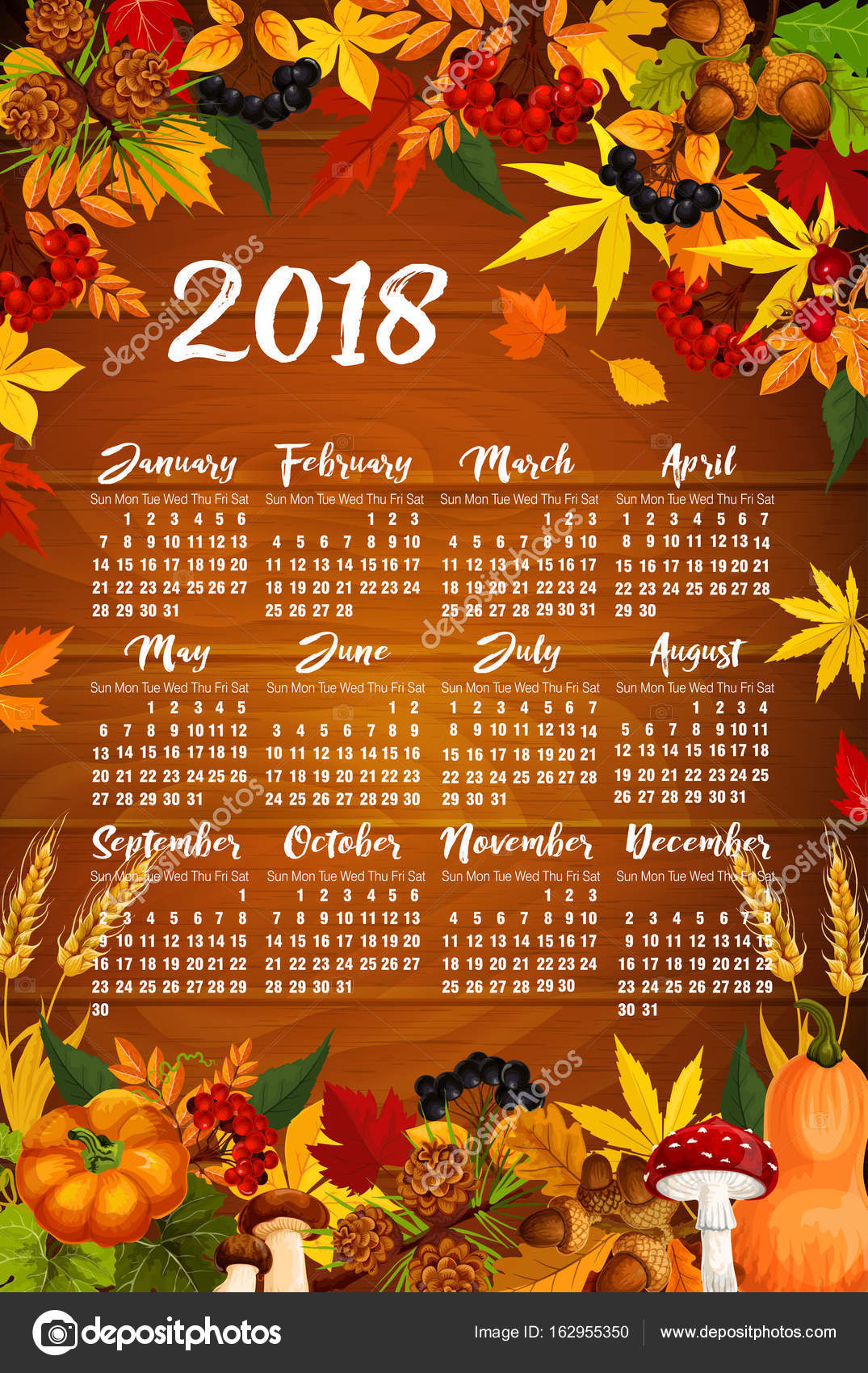 autumn 2018 calendar template poster of maple leaf fall rowan berry or oak acorn and pumpkin or mushroom forest harvest autumn seasonal foliage fir or