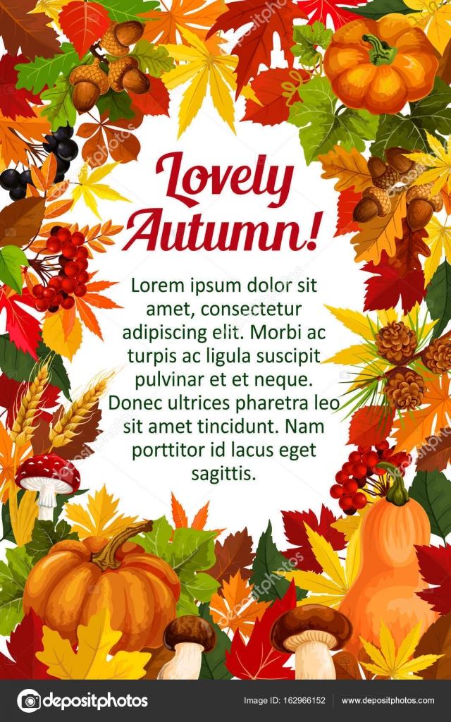 Plantilla cartel de otoño hoja con caída marco de naturaleza ...