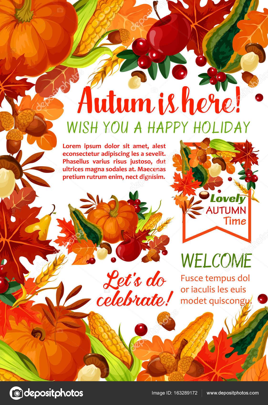 Happy Herbst Urlaub Plakat Vorlage — Stockvektor © Seamartini #163289172